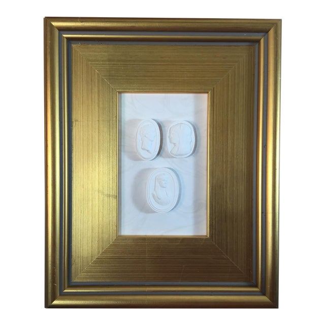 1920s Neoclassical Framed World Tour Plaster Wall Decoration For Sale