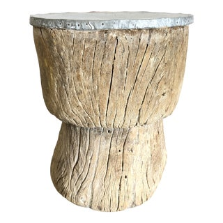 Antique Carved Natural Root/Zinc Side Table For Sale