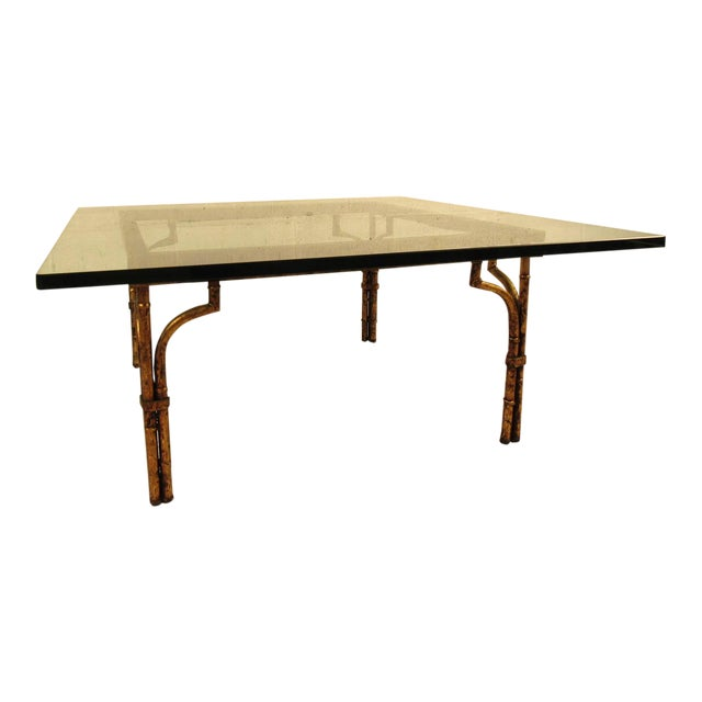 Vintage Hollywood Regency Coffee Table in Gilt Finish For Sale