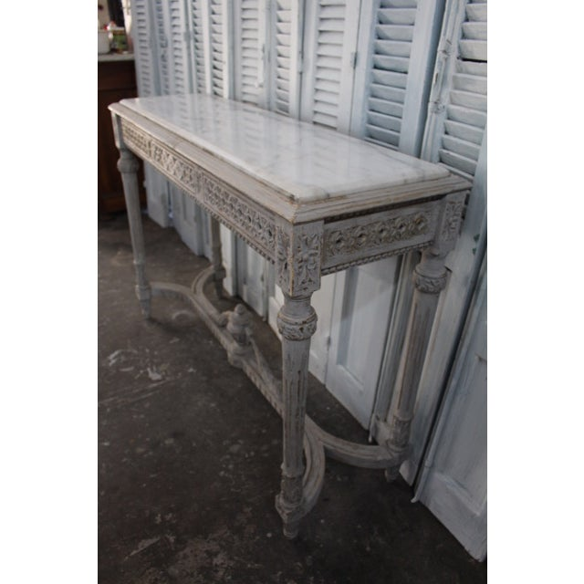 20th Century Vintage French Console With Mable Top For Sale - Image 4 of 9