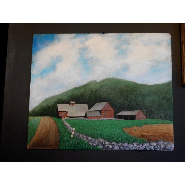 Rustic Farm Scene Oil Painting For Sale - Image 3 of 4
