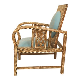 Anglo-Indian Teak Arm Chair With Inlaid Design For Sale