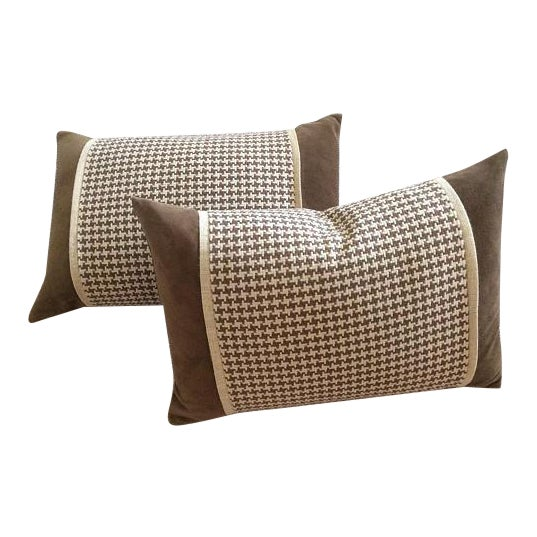 Chocolate Brown Velvet, Brown & Cream Houndstooth Check Woven Pillow Covers - A Pair - Image 1 of 5