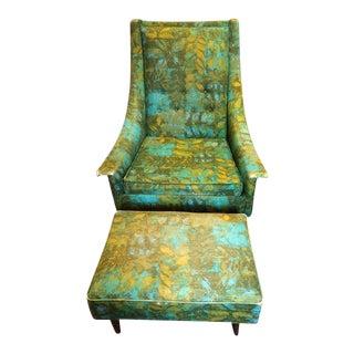 Mid-Century Selig Armchair & Ottoman - A Pair For Sale