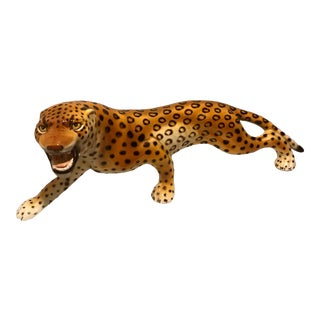 1960s Hollywood Regency Roaring Italian Ronzan Cheetah Statue For Sale