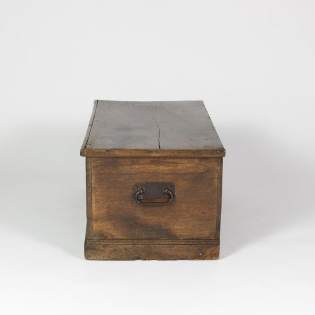 Rustic Rustic Chestnut Trunk With Over-Scale Iron Hinges, English Circa 1860. For Sale - Image 3 of 13