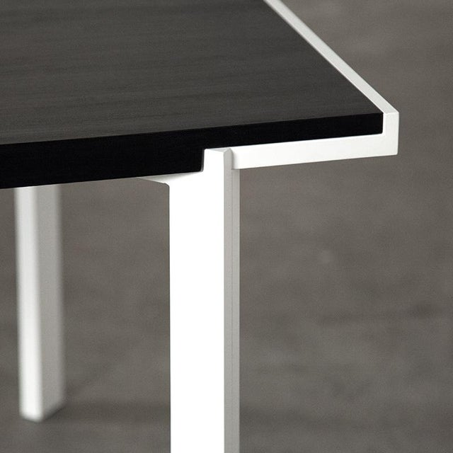 Kin & Company Contemporary White Powder-Coated Steel and Ebonized Maple Trace Table For Sale - Image 4 of 6