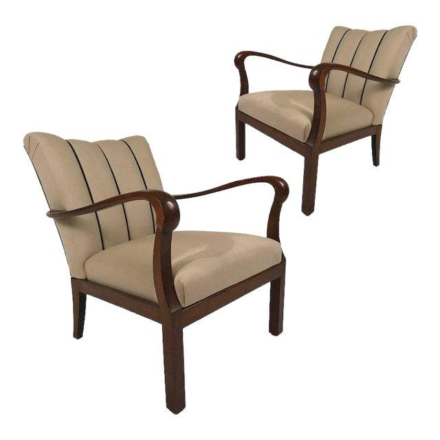 Danish Modern Mahogany Armchairs - A Pair For Sale