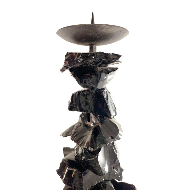 Large Murano Black Glass Candlestick For Sale - Image 7 of 7