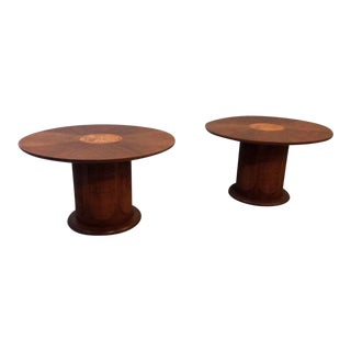 Drexel Pan Tempo Cane Tables - A Pair