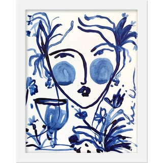 "Small ""Flowers and Wine Indigo Ii"" Print by Leslie Weaver, 11"" X 14"""