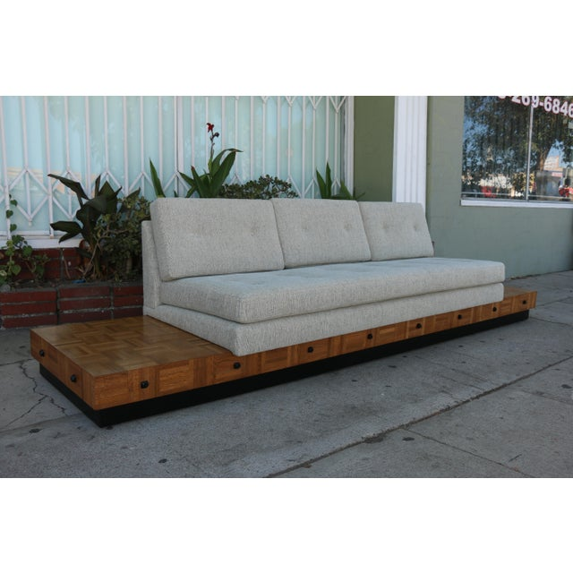 Adrian Pearsall Patched Burlwood Platform Sofa For Sale - Image 9 of 12