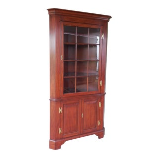 Henkel Harris Lighted Cherry Chippendale Style 12 Pane Corner China Cabinet For Sale