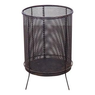 Vintage Black Mesh Steel Wastebasket in Style of Richard Galef For Sale