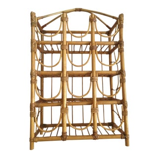 Mid Century Bamboo Rattan Bottle Wine Rack For Sale