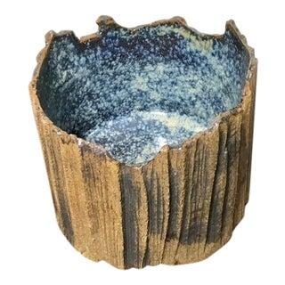 Studio Organic Ceramic Bottle Holder With Blue Inside Glaze - Signed For Sale