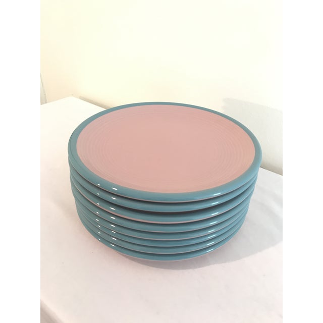 Century Stoneware Rio Pink & Turquoise Salad Plate - Set of 6 For Sale In Nashville - Image 6 of 6