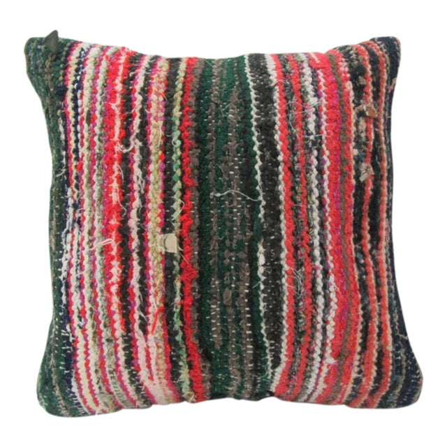 Vintage Handmade Green and Red Striped Turkish Kilim Pillow Cover For Sale
