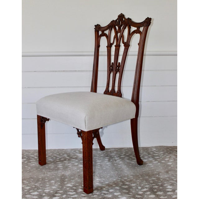Chinoiserie Mahogany Chinese Chippendale Hall Chairs - A Pair For Sale - Image 3 of 10