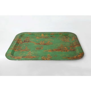 Vintage Chinoiserie Green Tray With Hand Painted Scenery in Gold Paint Preview
