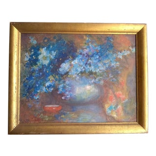 Early 20th Century Antique G E McKinstry Still Life with Blue Flowers Painting For Sale
