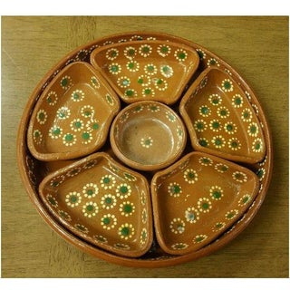 20th Century Folk Art Tlaquepaque Mexican Chip and Dip Serving Tray Preview
