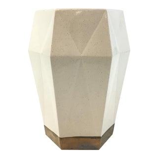 Made Goods Modern White Ceramic Shelby Hexagonal Stool For Sale