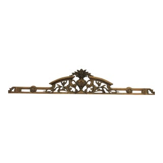 19th Century Victorian Wood Floral Pediment For Sale