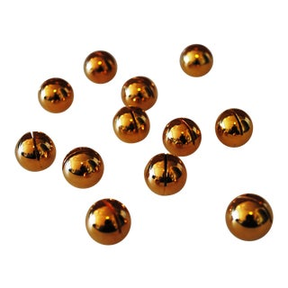 Gold Tone Metal Round Place Card Holders - Set of 12 For Sale