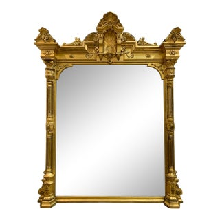 Antique Monumental French Giltwood Pier Mirror For Sale