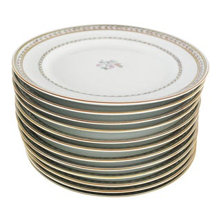 1950s Vista Alegre Gilt Border Porcelain Dinner Plates - Set of 12 For Sale