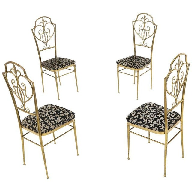 Set of 4 Italian Mid-Century Modern Chiavari Brass Chairs For Sale - Image 12 of 12