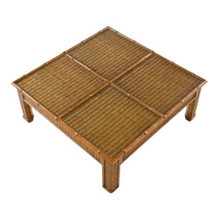 Vintage 1970s Monumental Boho Wicker and Rattan Coffee Table For Sale