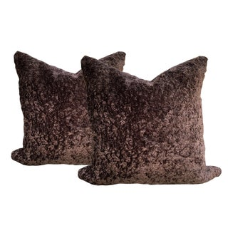Contemporary Faux Fur and Tweed Pillows - a Pair For Sale