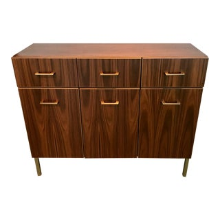 Mid-Century Modern Style Walnut and Brass Credenza For Sale