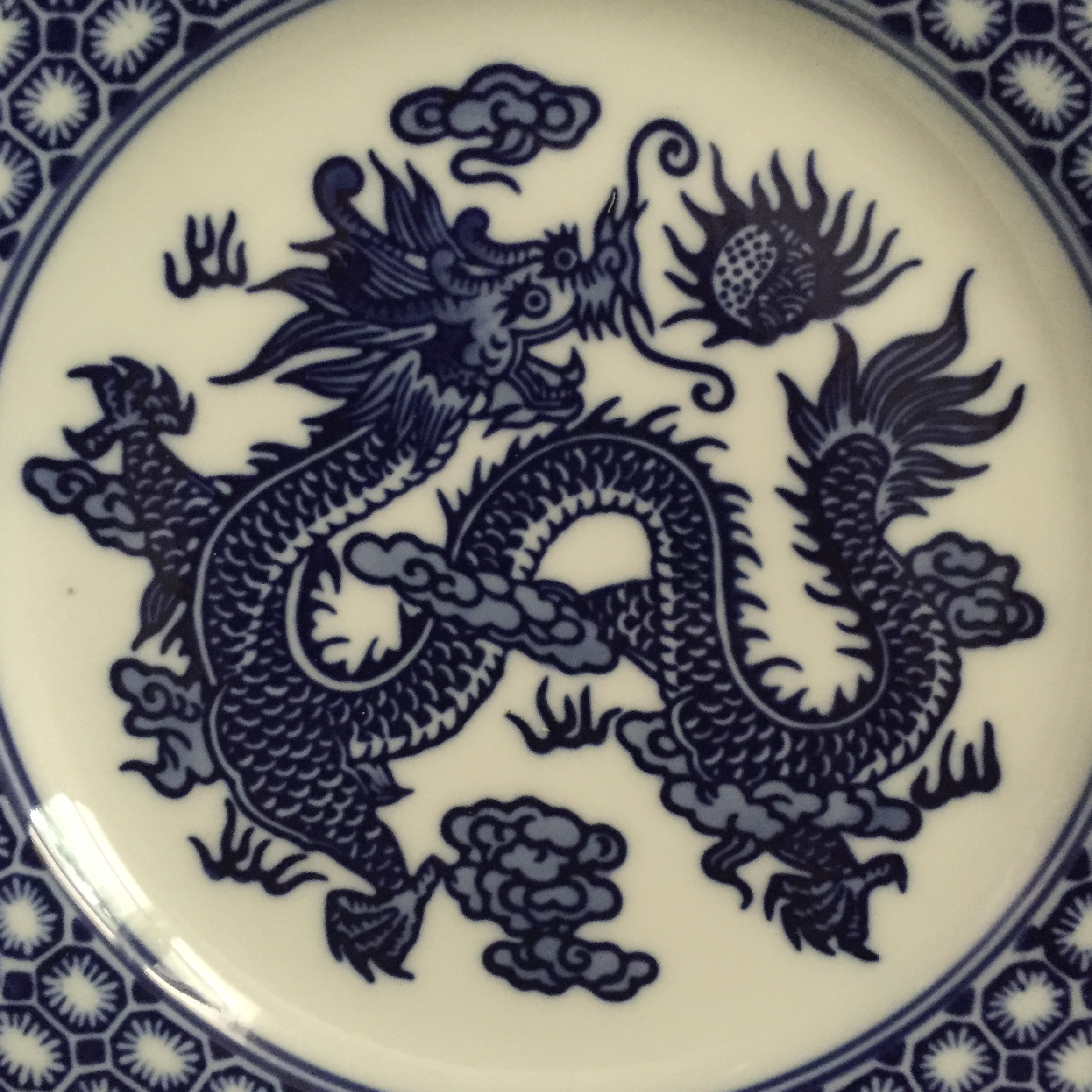 Vintage Chinoiserie Blue and White Asian Foo Dragon Decorative Plates - a Pair - Image 4 & Vintage Chinoiserie Blue and White Asian Foo Dragon Decorative ...