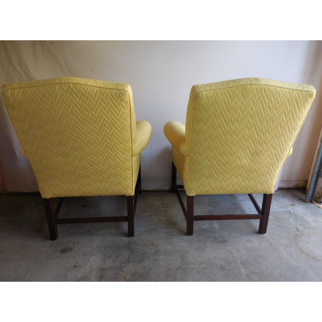 Vintage Yellow Fabric Bergere Chairs - A Pair - Image 4 of 7