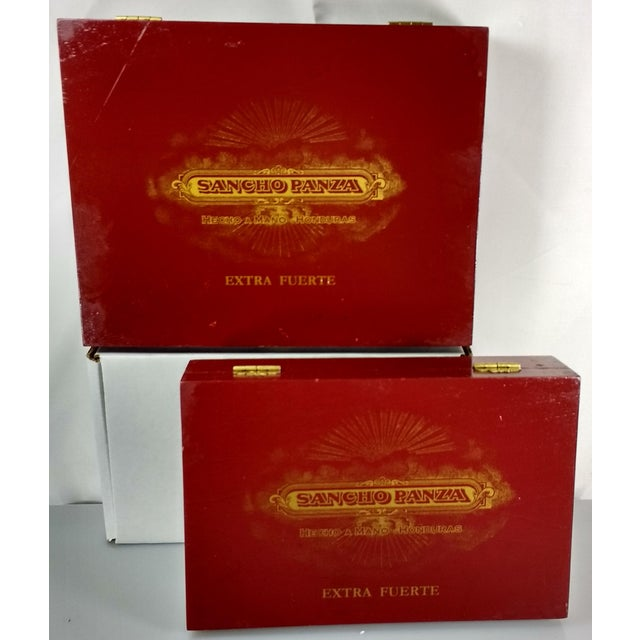 Traditional Red & Gold Sancho Panza Wood Cigar Boxes - Pair For Sale - Image 3 of 11