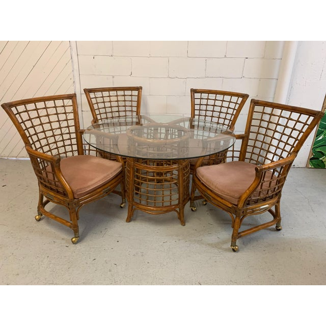 Rattan and Brass Dining Set For Sale - Image 10 of 10