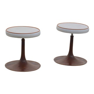 Thinline Cast Aluminum Upholstered Swiveling Stools - a Pair For Sale