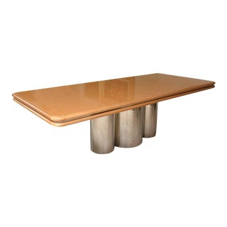 Brueton Bird's-Eye Maple and Stainless Steel Dining Table For Sale