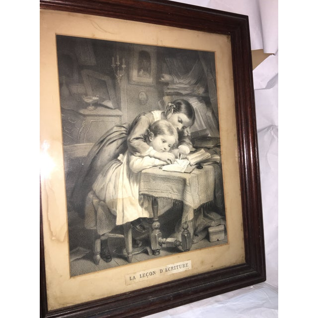 "19th Century ""The Writing Lesson"" Lithograph - Image 5 of 11"