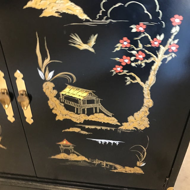 Asian Chinoiserie Style Black Lacquered Cabinet - Image 7 of 9
