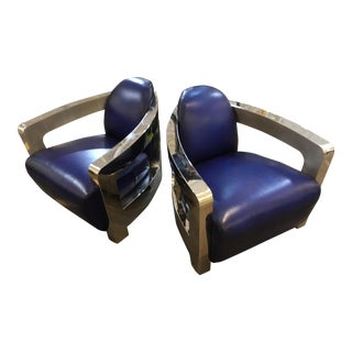 Modern Chrome and Blue Leather Space Chairs - a Pair