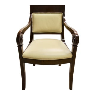 Regency-Style Scroll Arm Chair For Sale