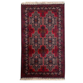 """Tribal Hand Knotted Baluchi Rug - 2' 10"""" X 4' 8"""" For Sale"""