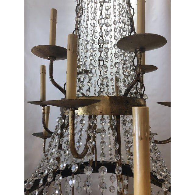 Vintage French Gilt and Crystal 24 Arm Chandelier For Sale - Image 4 of 13