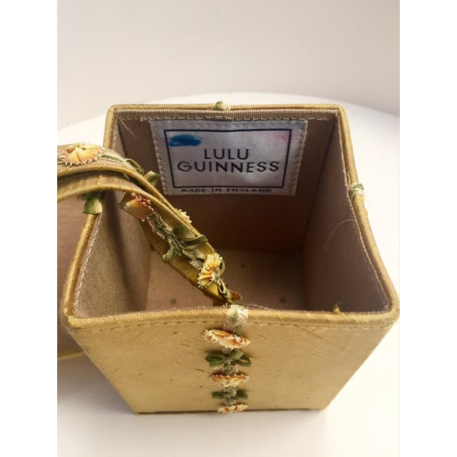 Silk Lulu Guinness Gold Silk Box Bag With Ribbon Flower Trim For Sale - Image 7 of 11