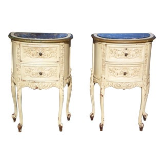 Vintage Pair French Rococo Painted Marble Top Demilune Nightstands End Tables For Sale