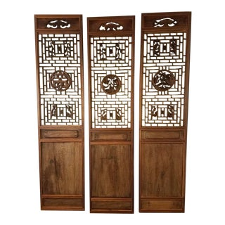 Antique Asian Handcarved Doors - Set of 3 For Sale